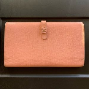 Auth Chanel Pink Leather Long Clutch Wallet!